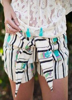 Judith March Cactus Shorts - Black/Cream