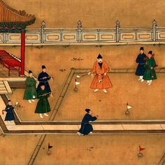 The Fifth Ming Emperor Xuanzong (ruling from 1425 to 1435) on palace playground (4) -- Playing golf.  Colour meticulous-style ink painting by Ming court artist