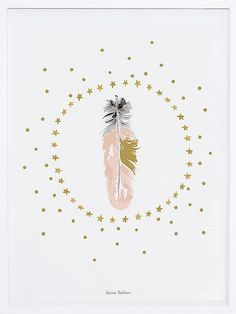 Tableau chambre bébé plume et étoiles dorées de Lilipinso  http://www.homelisty.com/tableau-chambre-bebe/