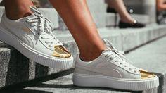 Puma Suede Platform White Gold Toe