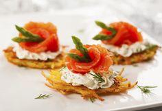 De petits paillassons de pomme de terre pour servir du saumon fumé, une bonne idée d'appetizer opur l'apéro