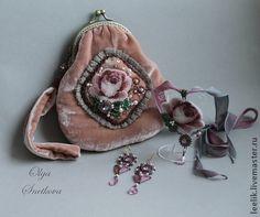 сумочка - ридикюль - бледно-розовый,сумка ручной работы,бархат,ридикюль