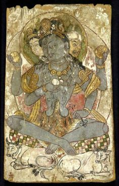 """7th-8th C. Hindu God Shiva from the buried  Silk Road oasis trade and religious center called Dāndān Wū-lǐ-kè (in Chinese) - meaning """"Houses of Ivory."""" Taklamakan Desert, Xinjiang, China"""