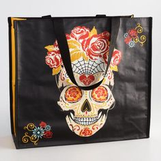 Sugar Skull Wide Tote Bag Mexican Sugar Skulls, Reusable Grocery Bags, Halloween Decorations, Tote Bag, Accessories, Candy, Day Of The Dead, Death, Totes