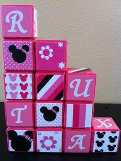 Minnie Mouse Building Blocks by OllieBeez on Etsy, $39.95