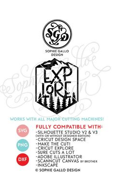 Explore Camping Cut SVG & DXF files instant download WHAT YOU'LL GET ~ 3 files: 1 SVG file that is compatible with Silhouette Studio, Cricut Design Space, CorelDRAW, Adobe Illustrator, Inkscape, Making the Cut, Sure Cuts A lot, and various other vinyl cutting machines and software.  A DXF file (which is compatible with the basic Silhouette Studio program -- no upgrade to design studio necessary)!  1 PNG file that can be edited in Photoshop and other software.  NO SHIPPING - INSTANT DOWNLO...