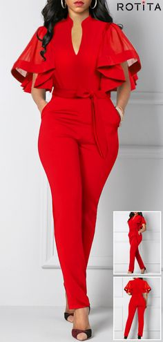 Smart Casual New Year! Butterfly Sleeve Belted Side Pocket Jumpsuit, Click web site other content Cute Party Outfits, Casual Outfits, Fashion Outfits, Style Fashion, Womens Fashion, Jumpsuit Outfit, Smart Casual, Jumpsuit With Sleeves, African Print Fashion