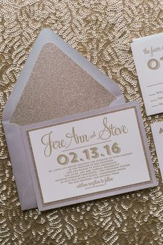 Wedding Invitations, Letterpress, Silver and Gold Glitter, Brooke Suite Glitter Wedding Invitations, Letterpress Wedding Invitations, Wedding Trends, Wedding Designs, Letterpress Business Cards, Wedding Invitation Inspiration, Winter Bride, Marry Me, Gold Glitter