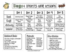 FREE Bugs & Insects Preschool Unit Plan – Preschool Weekly Science Theme – This Crafty Mom – wanderlust Infant Lesson Plans, Lesson Plans For Toddlers, Preschool Lesson Plans, Preschool At Home, Preschool Curriculum, Preschool Science, Homeschooling, Daycare Themes, Preschool Themes