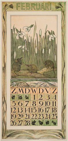 Mice and Snowdrops (1911 Calendar: February)  Sneeuwklokjes en muizen 1911  Theodorus van Hoytema, Dutch, 1863–1917 Dutch