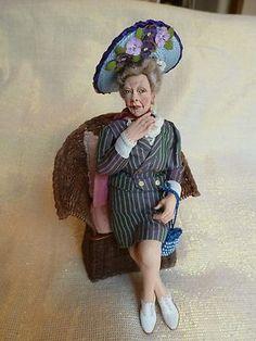 MARSHA BACKSTROM DOLL ELDERLY LADY SITTING IN CHAIR rare find!