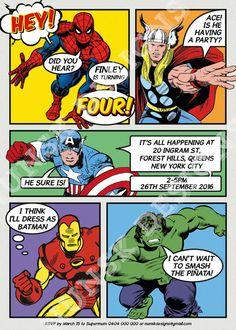 SUPERHERO Birthday Invitation // Superhero Party by NunskDesigns