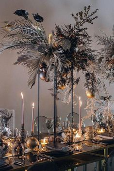 39 Gorgeous Tall Wedding Centerpieces tall wedding centerpieces modern dark with tropical flowers and leaves vindrievsky. Decoration Haloween, Decoration Table, Reception Decorations, Event Decor, Flower Decorations, Christmas Decorations, Art Deco Centerpiece, Centerpiece Flowers, Black Centerpieces