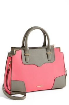 Rebecca Minkoff 'Amorous' Saffiano Leather Satchel Neon Pink/ Grey
