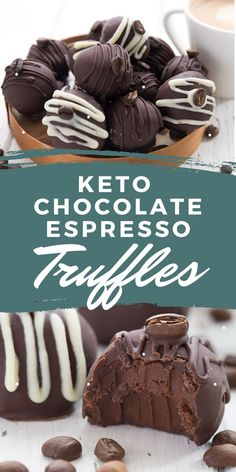 Rich keto chocolate truffles with espresso - the ultimate dessert for coffee lovers! Dipped in sugar-free dark chocolate for a delicious low carb chocolate treat.