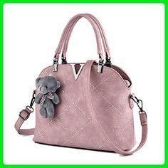 XIN BARLEY Women s Handbag PU Leather Shoulder Bag Cross Body Bag Fashion  Shell Bag With Bear 0be70b9217621