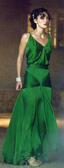 Cecilia's pivotal gown in Atonement: an insistent green achieved by layers of lime green silk, green-black organza, and emerald chiffon. It's a bit out of period, but all is forgiven when a gown  radiates such passion and disquiet. A look as intense, hopeful, and doomed as the lovers themselves.