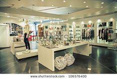 interior of clothes shop - stock photo
