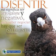 Disentir no significa ser arrogante y negativo, para saber negociar hay que ser inteligentes. Anónimo http://selvv.com/negociacion/ #Selvv