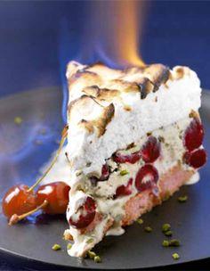 Recette Comme une omelette norvégienne : Préchauffez le gril du four à th. 8/240°. Faites macérer les griottes 30 mn dans 2 c. à soupe de Kirsch.Sortez ...
