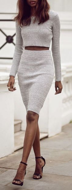 Knitted crop jumper and tube skirt combo