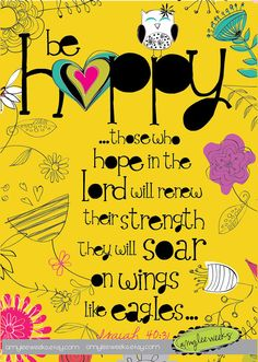 Christian Gift, Scripture art, Wise Reminders - Be Happy owl, Christian art print