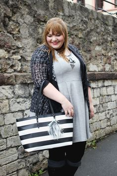 kathastrophal - Plus Size Outfit in grey, black and white (gray dress, black boots, black and white accessories)