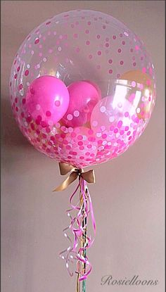 Beautiful double bubble balloon in pink, with confettis. Bubble Balloons, Large Balloons, Custom Balloons, Giant Balloons, Confetti Balloons, Bubbles, Balloon Centerpieces, Balloon Decorations, Balloon Ideas