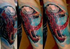 Venom Tattoo - George Mavridis http://tattoosgeek.com/comic-book-tattoos/venom-tattoo/
