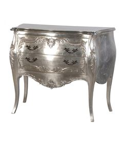 The Tiffany Bombe chest is a perfect French style piece with a silver leaf finish. This chest features 2 drawers, beautiful carved detail on the front and works perfectly in a bedroom, hall way or living room. Silver Painted Furniture, Painted Bedroom Furniture, French Furniture, Shabby Chic Furniture, Table Furniture, Home Furniture, Furniture Storage, Painting Furniture, Mahogany Furniture