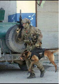 Military a War K9 & Handler - Heroes & God Bless you!