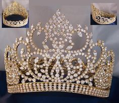 Beauty Pageant Award Contoured full crown Beauty Pageant Gold contoured rhinestone crown tiara A true classic Crown tiara, ideal for Pageants,Prom, Homecoming, Royal Crowns, Tiaras And Crowns, Lace Crowns, Gold Crown, Crown Jewels, Pink Crown, Quinceanera Themes, Quinceanera Tiaras, Gold Quinceanera Dresses