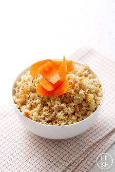 Carrot Rice made in a rice cooker. Super easy. Perfect for the busy family or couple.