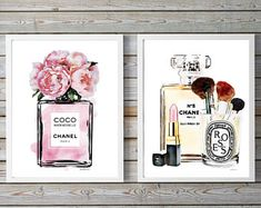 Dusty, pink, Set of 2 fashion posters Watercolor Peonies, perfume, flowers,watercolour,Fashion decor,fashion illustration, peony, gift, set,