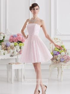 Pink Lace A Line Lovely Simple Cheap Short Custom Prom Dress Bridesmaid Dress