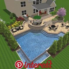 Pop over to these guys Backyard Woods Landscaping Backyard Hill Landscaping, Backyard Layout, Backyard Plan, Backyard Patio Designs, Swimming Pools Backyard, Back Yard Patio Ideas, Backyard Ideas, Patio Plans, Backyard Makeover