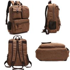 """Vintage Brown Large Capacity School Canvas Laptop Backpack Multi-pocketed Outdoor Travel Backpack Size: Width:33(CM)/12.99"""" Height:43(CM)/16.93"""" Thickness:10(CM)/3.94"""""""