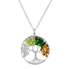 tree of life necklace with all four seasons. beautiful and green too. it's made of recycled materials!