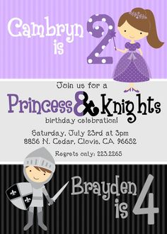Princess & Knights Birthday Invitation by beenesprout on Etsy, $13.00