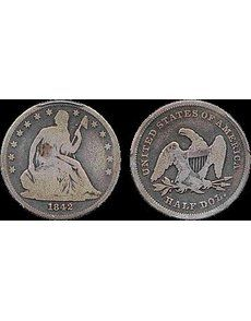 The fourth known example of the 1842 Seated Liberty, Small Date, Small Letters half dollar has been identified. The odd-looking areas at the edges of the coin are the clear grippers that hold the coin in place inside its PCGS encapsulation.