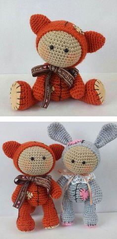 Amigurumi babypoppen, gekleed in dierlijke kostuums - gratis haakpatroon