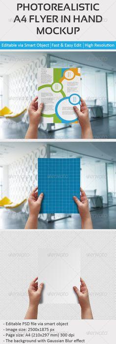 A4 Flyer in Hand Mockup #flyer #mockup Download: http://graphicriver.net/item/a4-flyer-in-hand-mockup/8190591?ref=ksioks