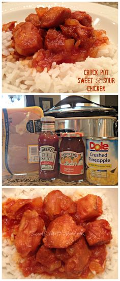 CROCK POT SWEET and SOUR CHICKEN, With only FOUR ingredients and little prep, a warm delicious dinner will be waiting! | SweetLittleBluebird.com