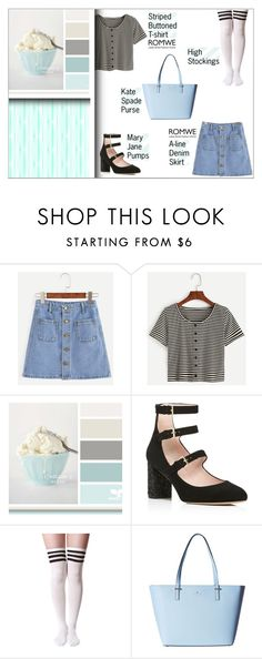 """""""Sweet and Striped"""" by prthv ❤ liked on Polyvore featuring Kate Spade, romwe, maryjanes and stripedshirt"""