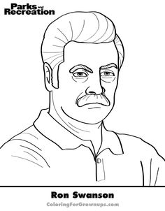 Color Ron Swanson.  -Download this page  -Share it on Facebook  -Print it / Color it /Mailit back  -Order Coloring for Grown-ups