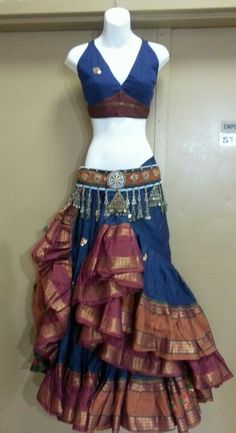 25 yard Embroidered aishwarya skirt and halter ensemble
