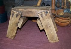 Sheepscot River Primitives - old wooden bench