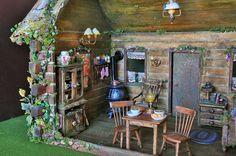 Fairy house fairytale log cabin dollhouse by fairyfurnishings Cabin Dollhouse, Dollhouse Miniatures, Haunted Dollhouse, Miniature Rooms, Miniature Kitchen, Miniature Houses, Mini Doll House, Fairy Furniture, Little Cabin