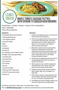 Optavia Discover Maple Turkey sausage patties with Spaghetti Squash hashbrowns. Lean Protein Meals, Lean Meals, Green Spaghetti, Spaghetti Squash, Sausage Spaghetti, Medifast Recipes, Healthy Recipes, Lean Breakfasts, Clean Eating