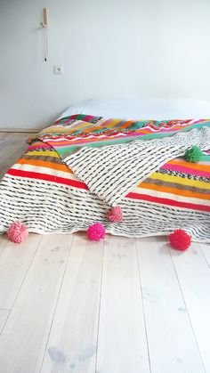 Large Moroccan POM POM Wool Blanket Stripes by lacasadecoto